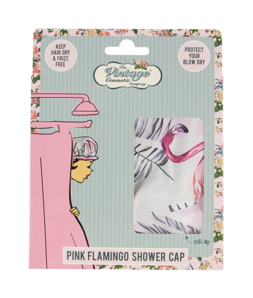 shower cap pink flamingo packaging