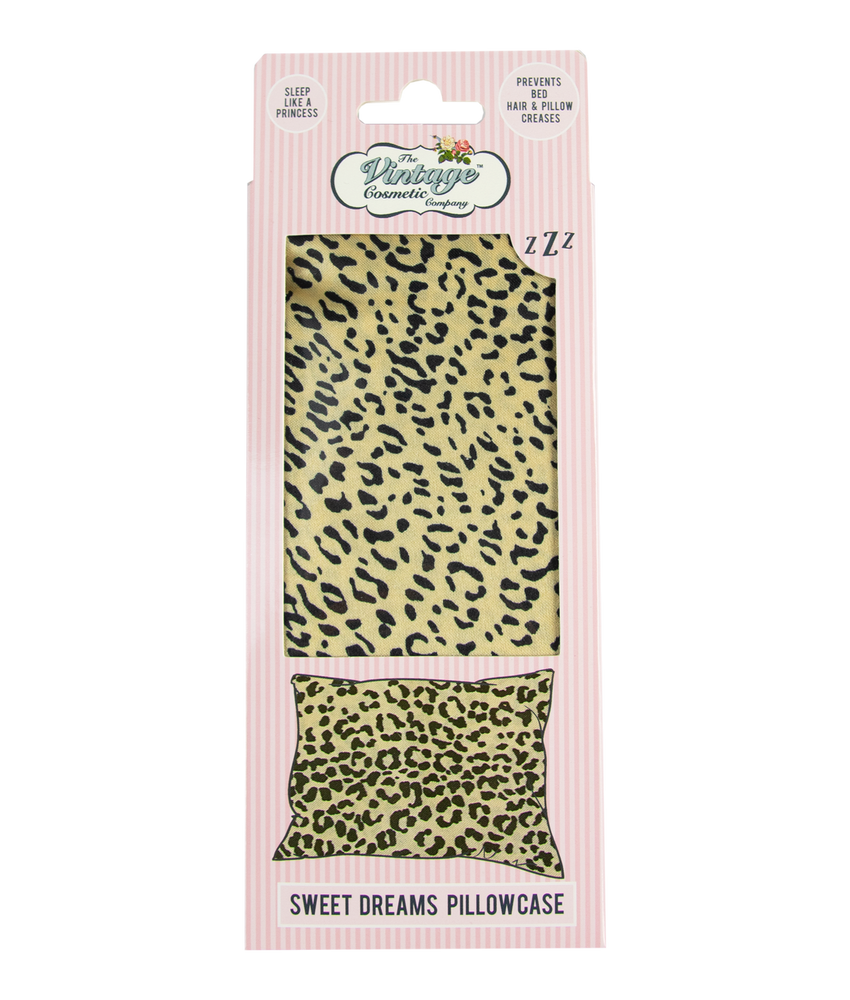 sweet dreams satin pillow case in jaguar print packaging