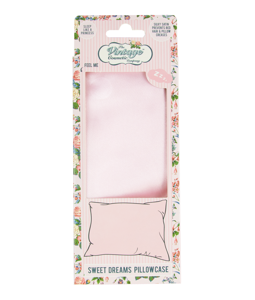 sweet dreams satin pillowcase in pink packaging