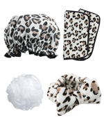 totally pampered gift set in leopard print shower cap make-up removing cloths make-up headband and body polisher packaging