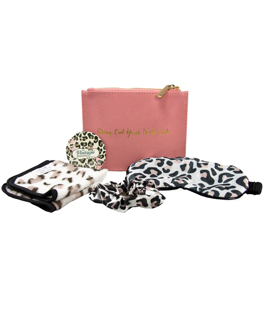 Gift set with zip pouch sleep mask make-up removing cloth scrunchie and badge mirror