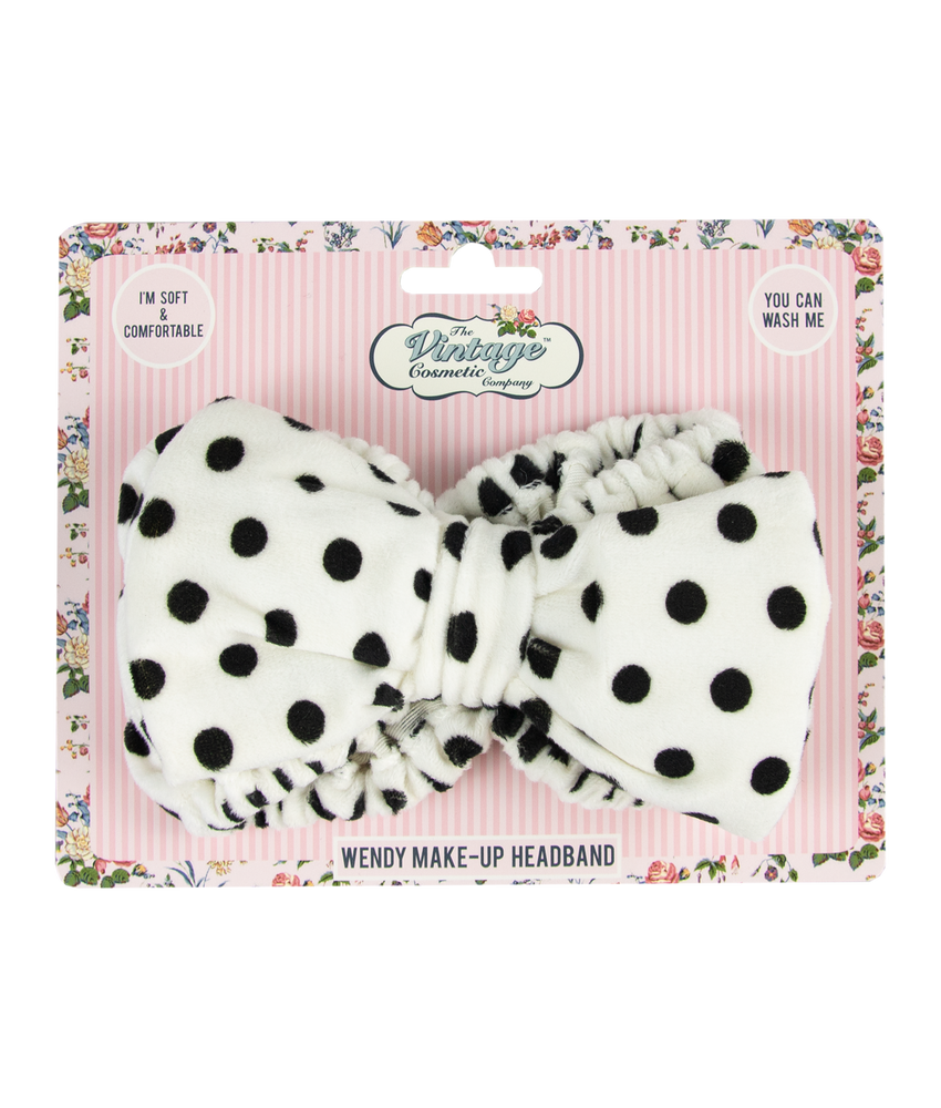 wendy make-up headband white with black polka dots packaging