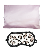 Sleeping beauty set pink satin pillowcase and leopard print sleep mask