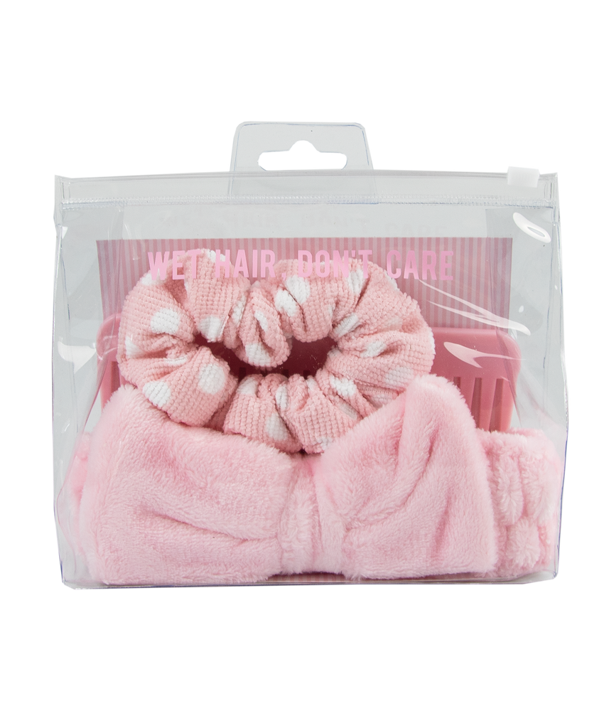 wet hair kit make-up headband scrunchie and wide tooth comb with zip lock bag