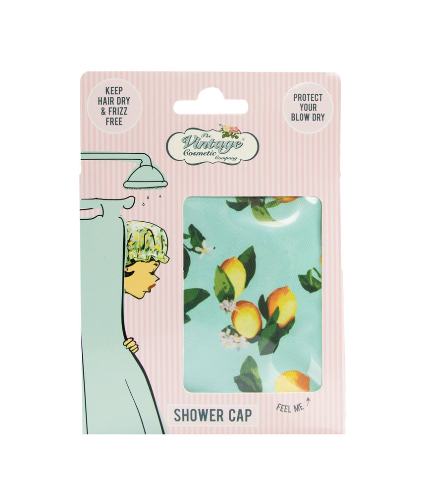 lemon print shower cap boxed