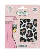 leopard print shower cap in christmas packaging