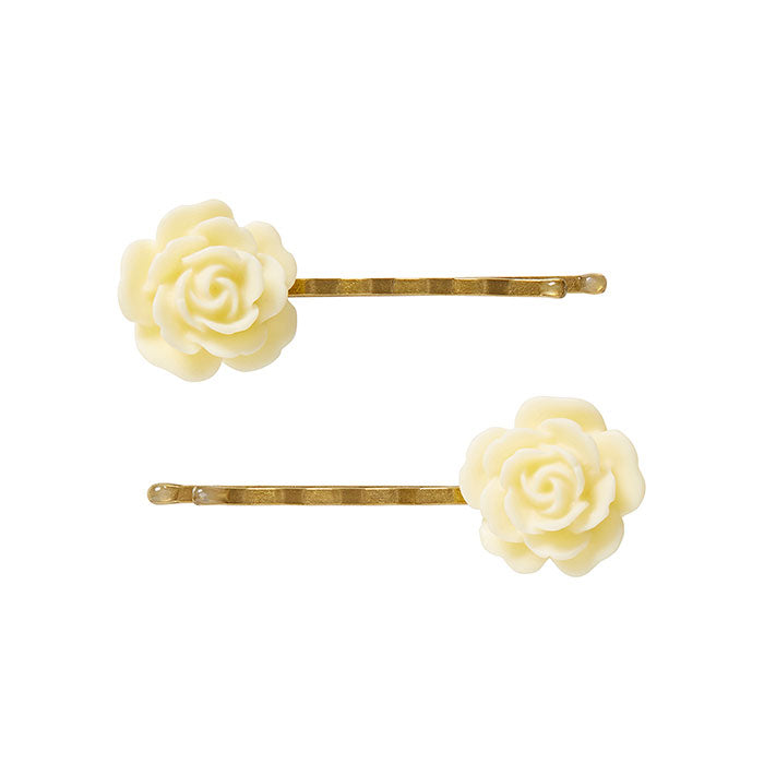 2 Large Cream Flower Bobby Pins