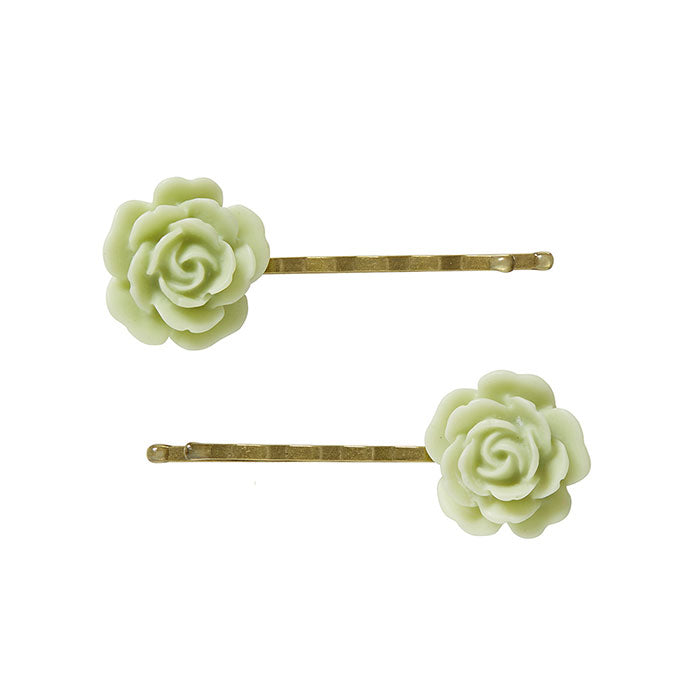 2 Large Green Flower Bobby Pins