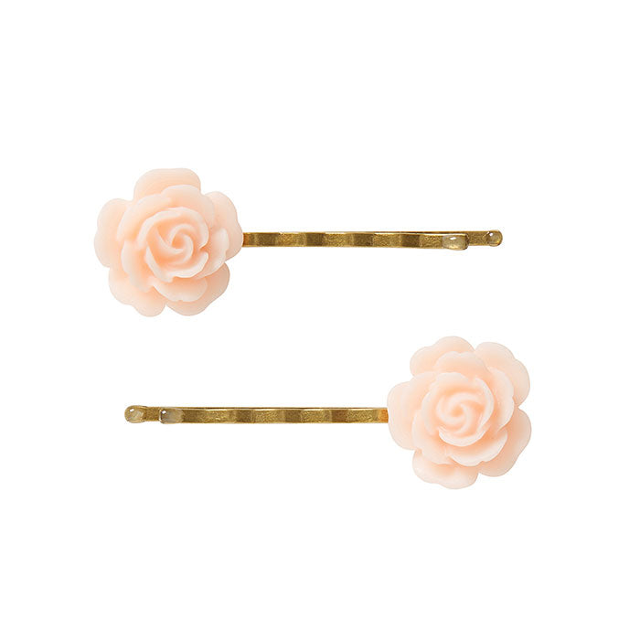 2 Large Pink Flower Bobby Pins