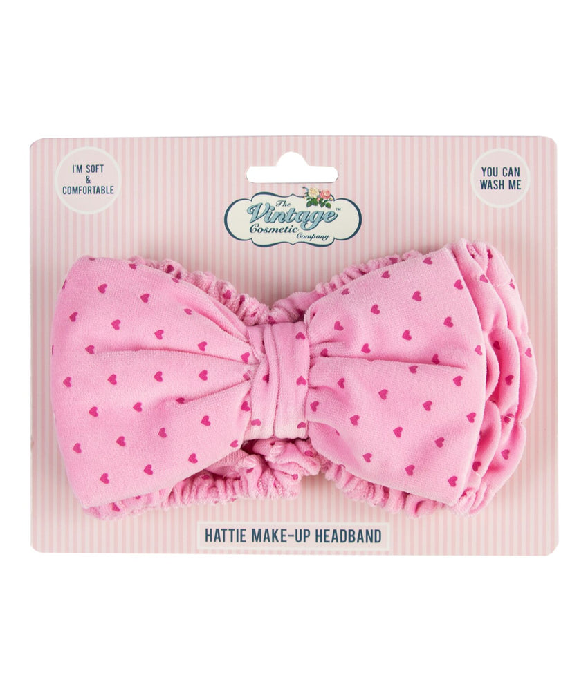 Hattie pink heart make-up headband packaging