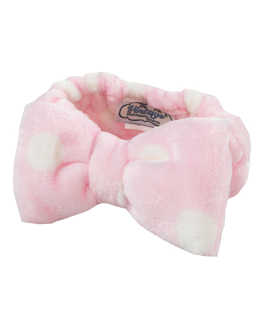 pink wiht white polka dot super soft make-up headband