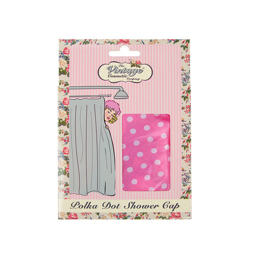Shower Cap Pink Polka Dot