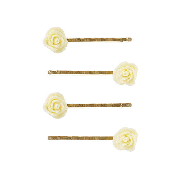 4 Small Cream Flower Bobby Pins