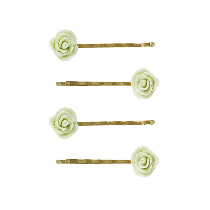 4 Small Green Flower Bobby Pins