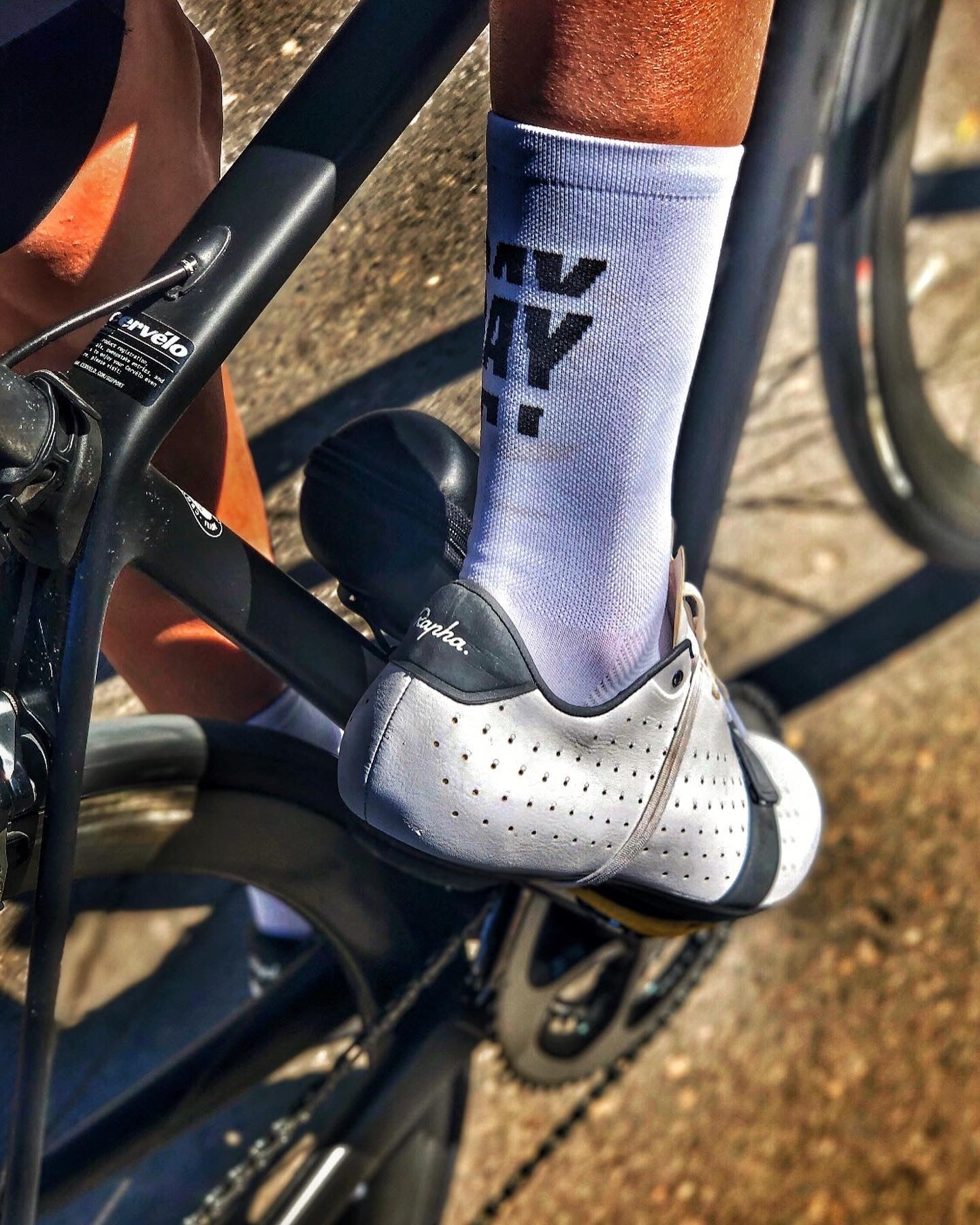 Thank God it's Rideday cycling socks White