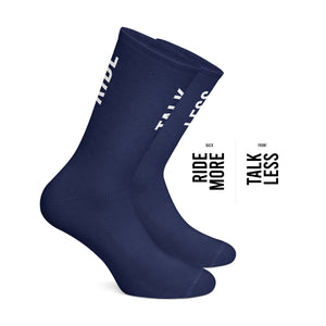 Talk Less Ride More cycling socks Navy