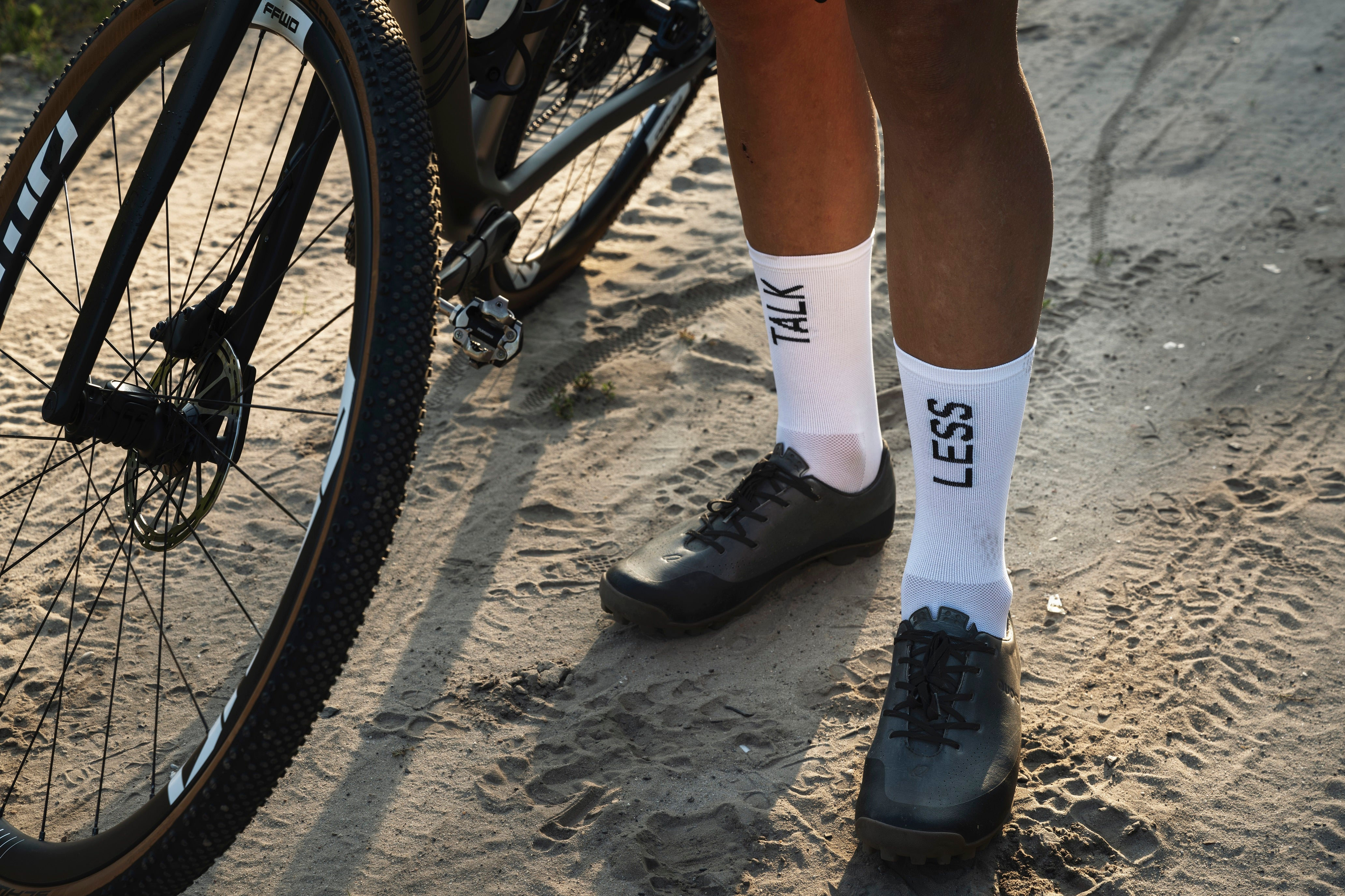Talk Less Ride More cycling socks White