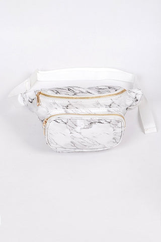 white marble fanny pack with gold zippers