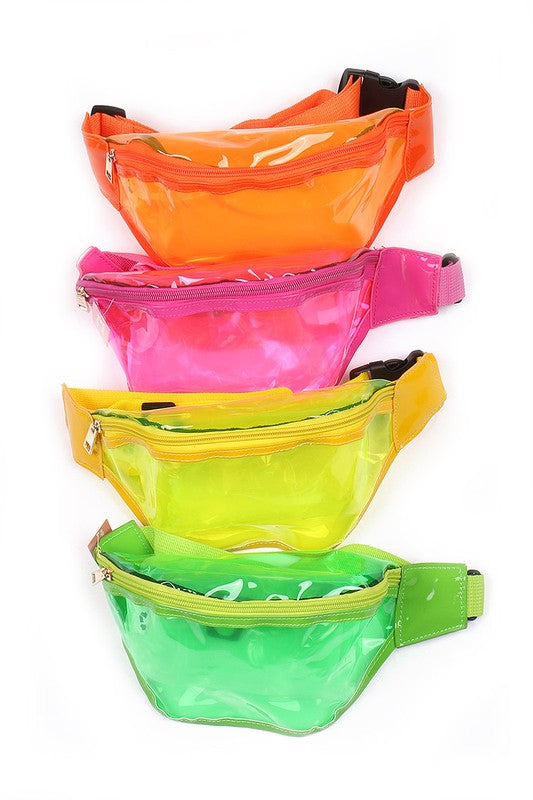 clear neon colored fanny pack