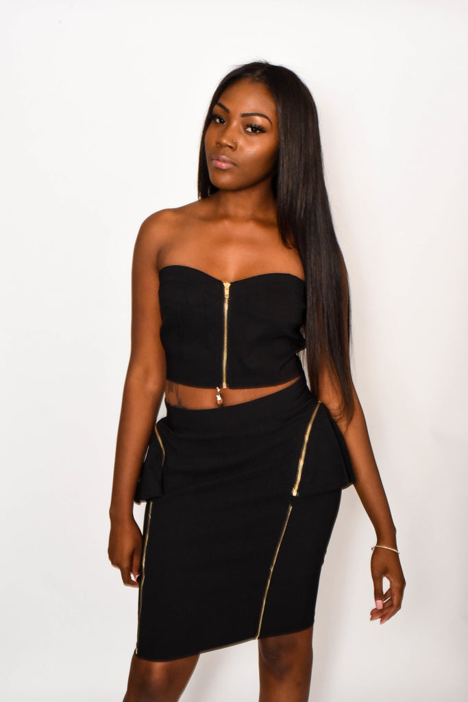 Black Gold Strapless Two Piece Dress Set