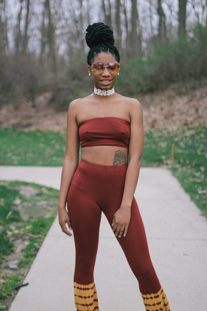 red and yellow bandeau and flare pants set