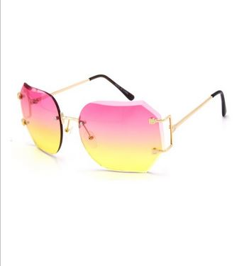 pink and yellow ombre shades