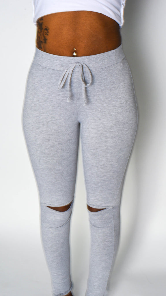 Gray Leggins with Knee Cut out