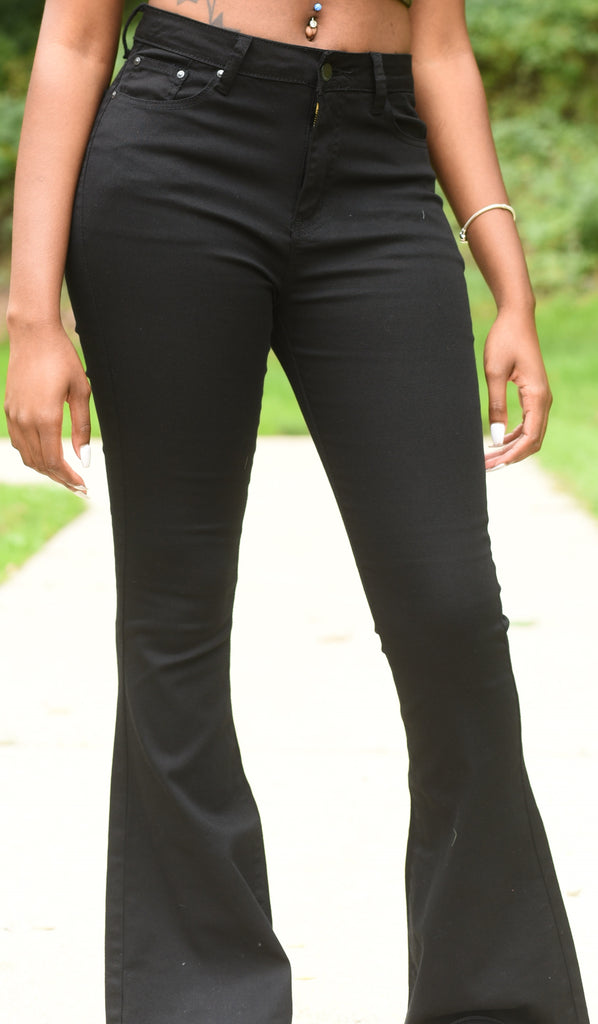 Black High Waist Bell Bottom Jean Pants