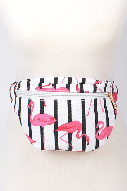 black and white striped flamingo bag