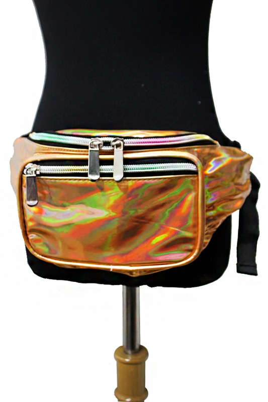 large gold shiny fanny pack