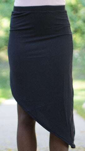 Black Asymmetrical Seamless Skirt
