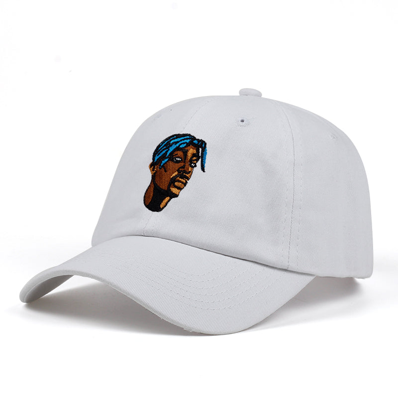 white embroidered tupac hat