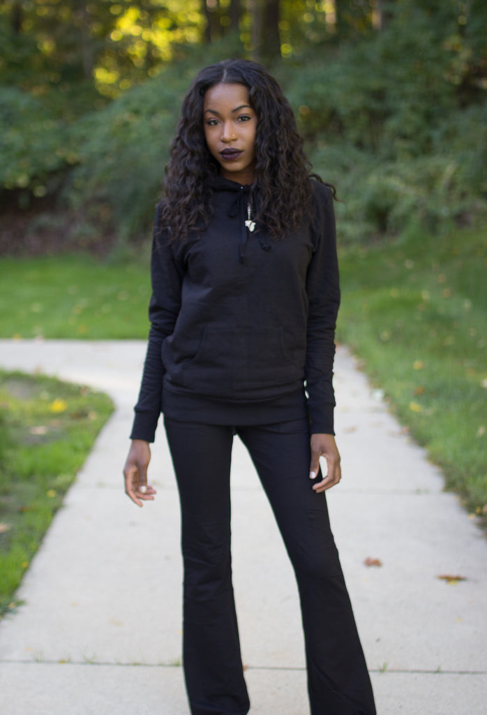 Black Pullover Jogging Suit Set