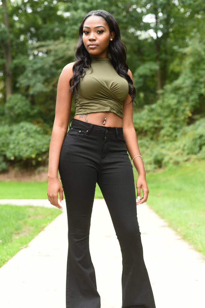 Sleeveless Ruched Olive Green Crop Top
