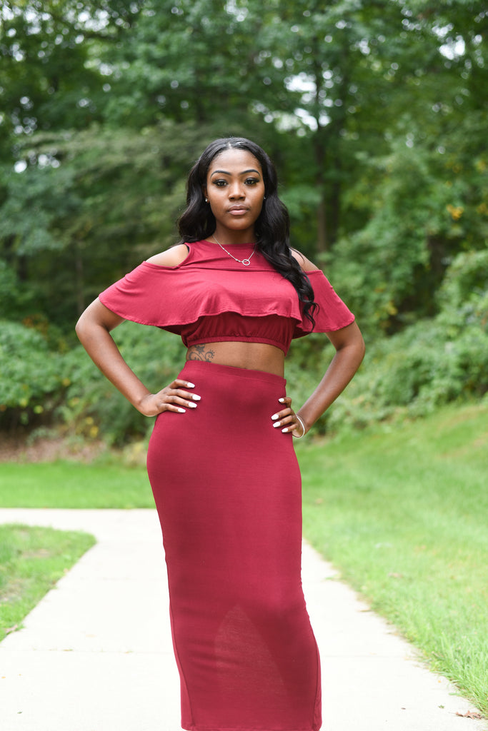 Red Two 2 Piece Top and Skirt Set