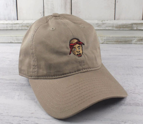 tan embroidered tupac hat