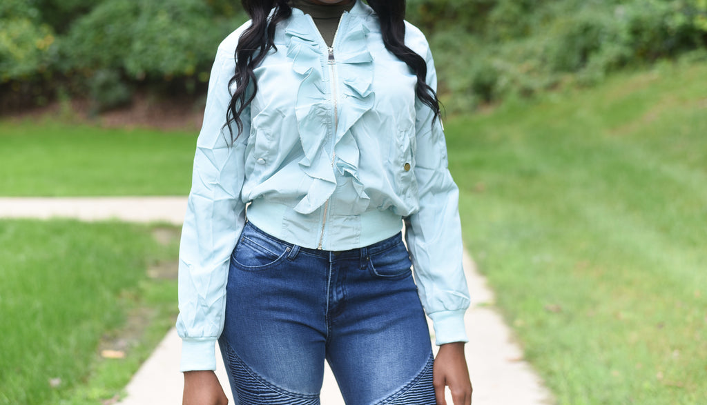 Baby Sky Blue Ruffled Crop Top Jacket