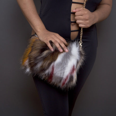 multi colored fur purse clutch