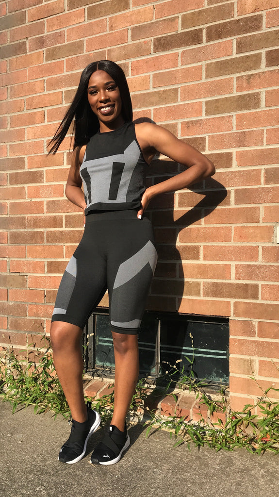 Black colorblock activewear shortset