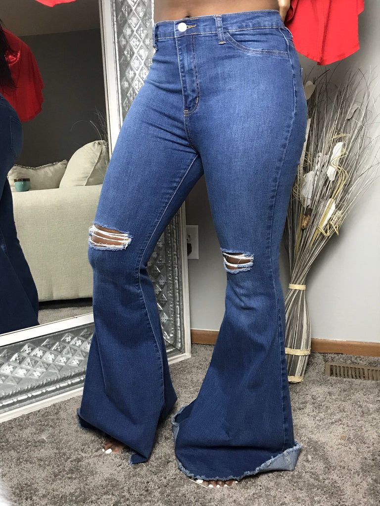 High Waist Frayed Hem Flare Jeans
