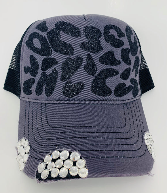 Leopard Trucker Hat With Rhinestones