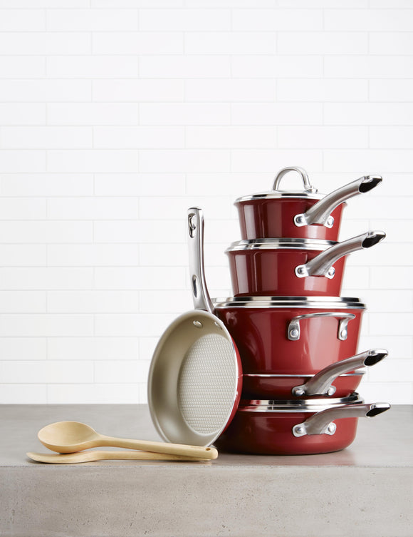 12pc Ayesha Curry Cookware Set - NonStick Red