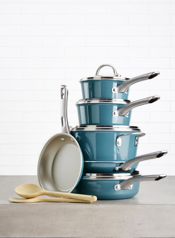 12pc Ayesha Curry Cookware Set - NonStick Blue