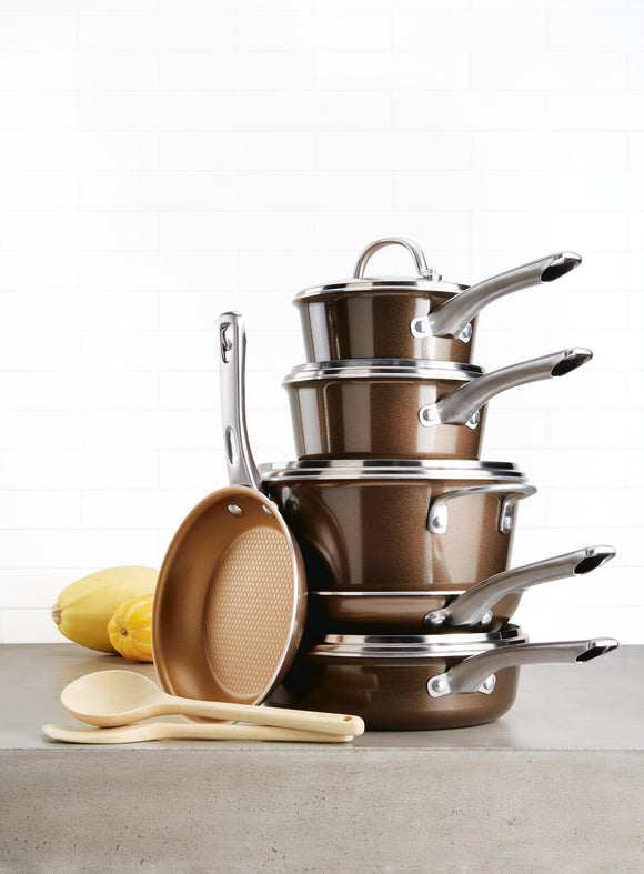 12pc Ayesha Curry Cookware Set - NonStick Brown
