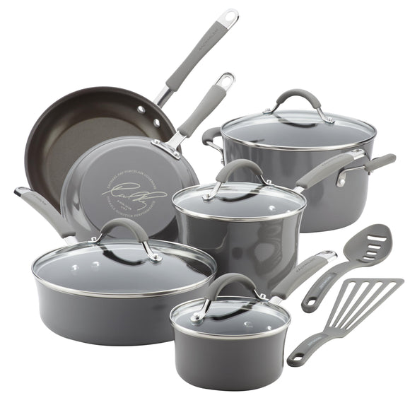 Rachael Ray 12pc Cookware Set - Sea Salt Gray 16802