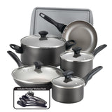 15pc Farberware Cookware Set - Pewter 21896