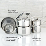 Meyer Confederation Stainless Steel Cookware Set, 10-Piece, Made in Canada