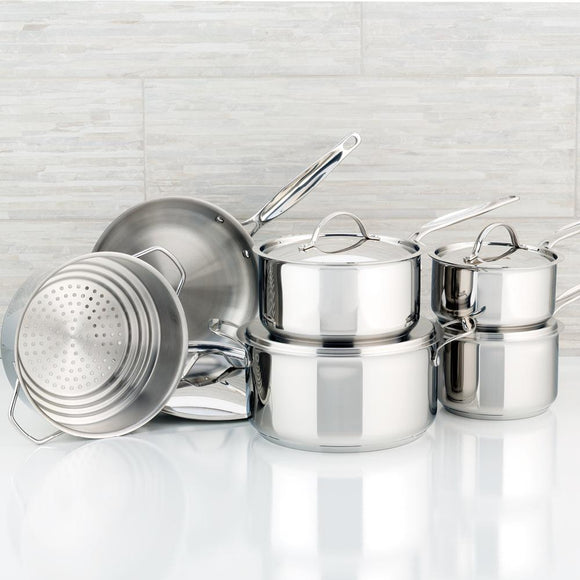 Meyer Confederation Stainless Steel Cookware Set, 11-Piece, Made in Canada