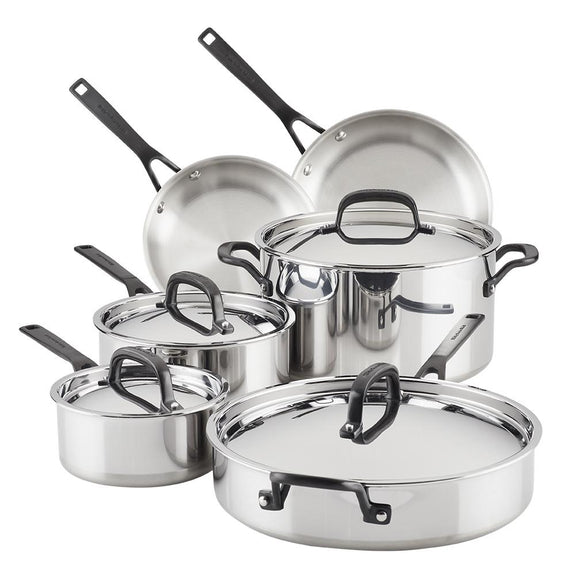 KitchenAid 5-Ply Clad Stainless Steel Cookware Set, 10-Piece, Polished Stainless Steel