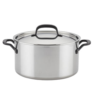 KitchenAid 5-Ply Clad Stainless Steel Stockpot with Lid, 8-Quart, Polished Stainless Steel